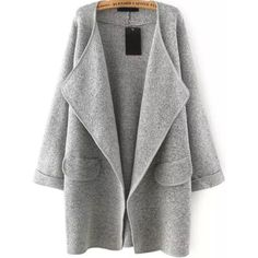 Grey Lapel Long Sleeve Loose Sweater Coat ($22) ❤ liked on Polyvore featuring outerwear, coats, grey, long sleeve coat, cocoon coat, longline coat, grey coat and gray sweater coat