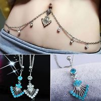 Crystal Rhinestone Navel Ring Belly Button Waist Chain Body Piercing Jewelry New