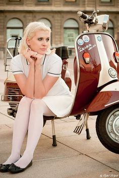 White dress, white tights, red & white Vespa(via Pinterest)