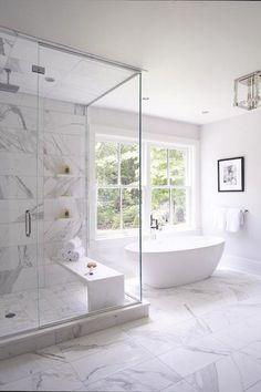 marble tile like nicole had suggested Small Master Bathroom Remodel Ideas (6) #luxurybathrooms #marblebathroom #marblebathrooms