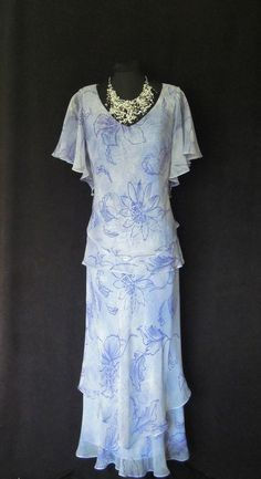 CATTIVA (of NEW YORK) Light Blue, White and Deep Lilac, Floral, Silk Chiffon Dress with bead decoration, size UK12/14
