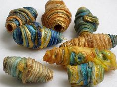 8 mixed media textile art beads hand made by CAROLYNSAXBYTEXTILES, £6.50