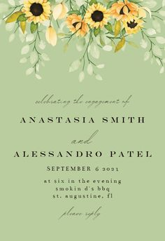 Soft Pastel Sunflower - Engagement Party Invitation #invitations #printable #diy #template #Engagement #party #wedding Engagement Party Invitations, Wedding Engagement, Pastel, Templates, Free, Cake, Stencils, Vorlage, Engagement Invitations
