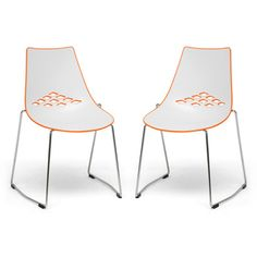 @Overstock - This simple chair is ideal for any contemporary home decor. This set includes two chairs, featuring high quality plastic construction in white and orange hues.http://www.overstock.com/Home-Garden/Jupiter-White-and-Orange-Plastic-Modern-Dining-Chairs-Set-of-2/5810512/product.html?CID=214117 $199.99 for 2