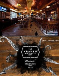 (2012 - Student Gold ADDY) Winner  Another guerrilla idea for Kraken, ink spots on the bar floor would lead to a big ink spot on the bar counter with the Kraken logo in it, convenianty placed in front of the bottle of Kraken behind the bar.