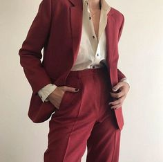 okay but her in this™ Suit Fashion, Look Fashion, Korean Fashion, Red Fashion, Adrette Outfits, Casual Outfits, Fashion Outfits, Androgynous Fashion, Looks Vintage