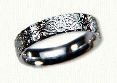Celtic Lensiedel Knot Straight Edges Wedding Band- Shown in 14kt White Gold