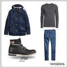 Klasyczne jeansy doskonale komponują się z grafitowym longsleevem i granatową kurtką. W całości nie może zabraknąć modnych trzewików Wojas na transparentnej podeszwie (4278-21).