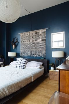Gentil Chris U0026amp; Jennyu0027s Collective Elegance U2014 House Tour | Apartment Therapy  Blue Feature Wall Bedroom