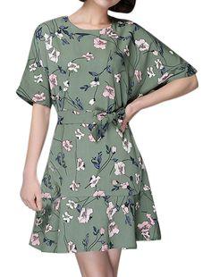 Women's Floral Prints Flouncing Hem Belted Tunic Dress