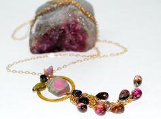 Watermelon Tourmaline Necklace by luxurybyvera on Etsy,