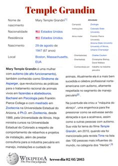 Temple Grandin Wikipedia  Biografia, história, autismo, zoologia, fazenda, máquina do abraço, ...