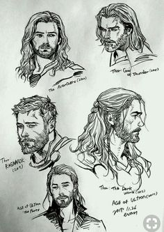 Thor's slowly progressed throughout the years.tbh I preferred his age of ultron look ^^^ personally i like all of his looks except from avengers, thor: god of thunder (that's a game btw) and thor 1 Marvel Art, Marvel Avengers, Marvel Comics, Art Drawings Sketches, Cartoon Drawings, Drawing Cartoon Characters, Thor Drawing, Avengers Drawings, How To Draw Hair