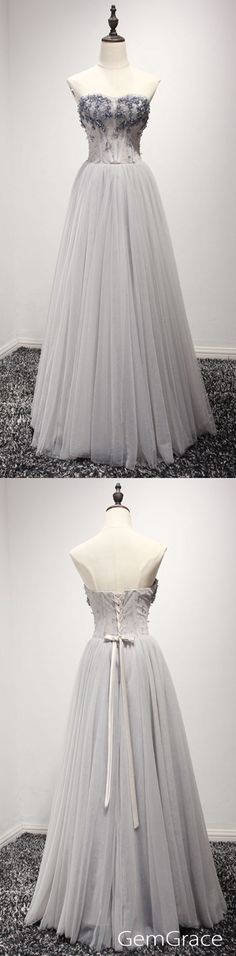 Grey long tulle prom dress