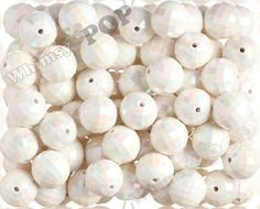 20mm  10 PACK of White AB Faceted 20mm Gumball by whimsyandpop, $2.45