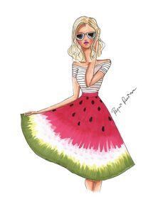 Fashion illustration watermelon skirt by ReyniRzIllustrations Fashion Drawing Dresses, Fashion Sketches, Skirt Fashion, Fashion Art, Fashion Design, Watermelon Skirt, Beauty Illustration, Illustration Fashion, Cute Pillows