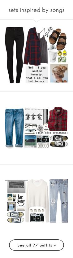"""""""sets inspired by songs"""" by gb041112 ❤ liked on Polyvore featuring Birkenstock, J Brand, H&M, Rails, PINTRILL, Big Bud Press, Persol, Converse, NLY Accessories and Clips"""