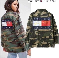 Etsy Tommy jeans and Tommy Hilfiger jean jacket Tommy Hilfiger Jeans, Tommy Hilfiger Outfit, Tommy Jeans, Tommy Hilfiger Jackets, Tommy Hilfiger Women, Camo Outfits, Girl Outfits, Casual Outfits, Swag Outfits