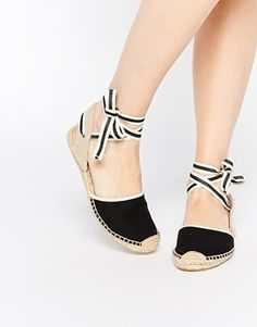 Soludos Classic Woven Black Tie Up Espadrille Flat Sandals