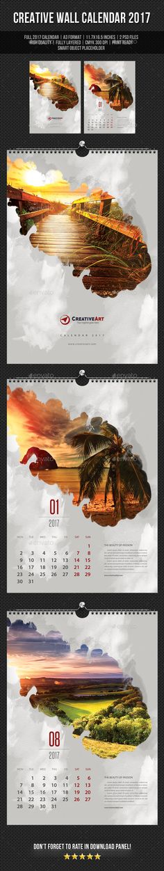 Creative Wall Calendar 2017 V10  — PSD Template #monday #calendar • Download ➝ https://graphicriver.net/item/creative-wall-calendar-2017-v10/18303541?ref=pxcr