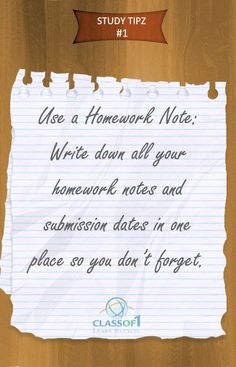 Study Tip 1: Use a Homework Note!