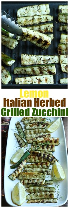 Perfect side dish or appetizer for parties or simple dinners. Great for summertime grilling. Easy and full of flavor! | http://TheVegan8.com | #vegan #glutenfree #grilled #zucchini #lemon #italian #herbs #summer