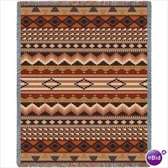 Navajo Clay Tapestry Throw Blanket Afghan Native American Indian Apache Hopi