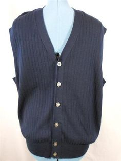 Polo Golf Ralph Lauren Men\u0027s Sweater Vest Career Casual Blue Button Down XL  Nice | eBay