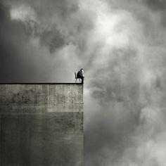 Black & White Photography - On the edge Black White Photos, Black And White Photography, Conceptual Photography, Art Photography, Oleg Oprisco, Photo D Art, Photo Manipulation, Belle Photo, Dark Art