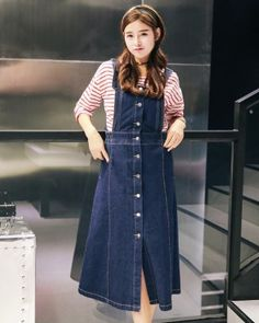 ad5be081100 CW68703 Long college style denim single-breasted skirt