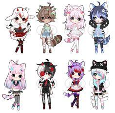 Chibi 189 Chibi Mix Adopts [ Open] 0 8 by Hunibi On Deviantart Anime Girl Neko, Chibi Girl, Anime Chibi, Anime Art, Chibi Kawaii, Cute Chibi, Kawaii Anime, Kawaii Cute, Kawaii Drawings