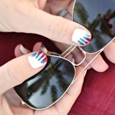 DIY Tie Dye Nails ~ Red, White, & Blue Manicure for the 4th of July.