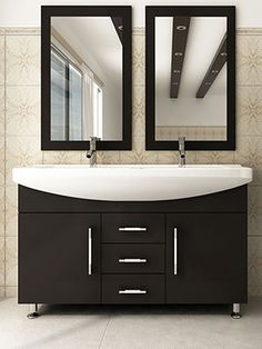 This modern classic is a vanity that truly makes a statement! Featuring     <br />solid oak construction for the best in natural beauty and longevity, this double     <br />sink vanity will last a lifetime of eye-catching functionality. The single-piece     <br />solid state ceramic dual sink serves both as basin and countertop for a visual     <br />flair that is unrivaled by most other modern vanities, and the contrast between     <br />the rounded basin and the rich natural wood is truly…