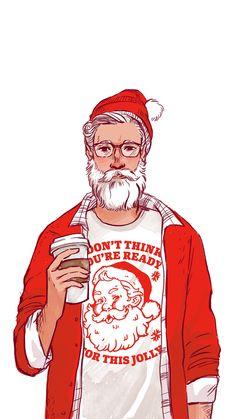 Christmas Drawing, Christmas Art, Christmas Illustration, Cute Illustration, Real Superman, Santa Claus Drawing, A Level Art Sketchbook, Merry Christmas Ya Filthy Animal, Guy Drawing