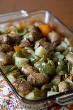 Roasted Turkey Sausage, Potatoes and Peppers - great healthy dish for busy weeknights
