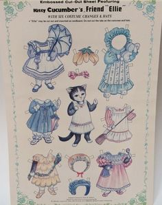 Vintage Kitty Cucumber's Friend Ellie Embossed Cut Out Sheet Cat Doll Costumes | eBay