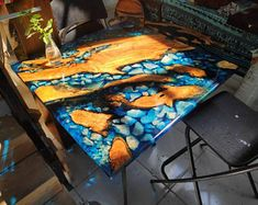 Ocean sea RIVER COFFEE TABLE with blue epoxy resin and olive live edge wood and hand collected cristals minerals Epoxy Resin Table, Clear Epoxy Resin, Wood Resin, Sanding Wood, Wood Stumps, Seaside Theme, Shops, Live Edge Wood, Round Coffee Table