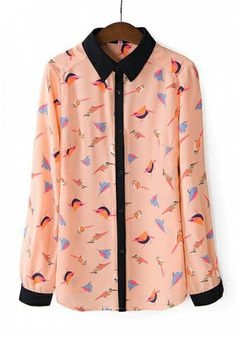 Orange Chiffon Constrast Lapel Long Sleeve Button Fly Animal Prints Tops