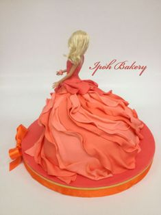 Coral Swirling Dress Barbie