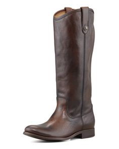Melissa+Button-Pull+Boot,+Dark+Brown++by+Frye+at+Neiman+Marcus.
