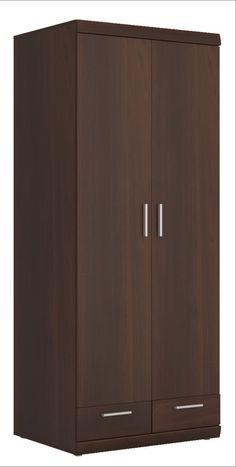 Imperial Tall 2 Door 2 Drawer Wide Cabinet in Dark Mahogany Melamine Wardrobe Cabinet Bedroom, Wardrobe Design Bedroom, Wardrobe Furniture, Wardrobe Cabinets, Bedroom Furniture Design, Wardrobe Doors, Home Decor Furniture, Brimnes Wardrobe, Sliding Wardrobe