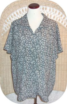 INVESTMENTS II Womens Top Plus Size 1X Black White Floral Short Sleeve  #InvestmentsII #ButtonDownShirt #CareerCasual