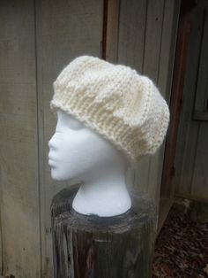 Ladies Cream Beret Style Knit Hat by lovemyknits on Etsy, $18.00