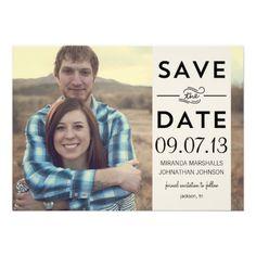 #Cream Banner #Photo Save The Date #Invites