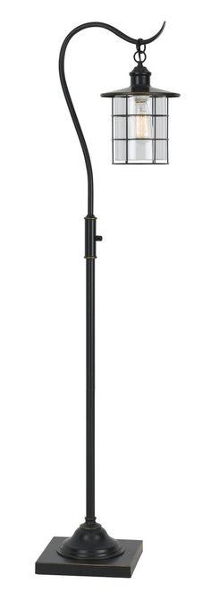 "Bronze Floor Lamp Glass Lantern Shade 60""H"