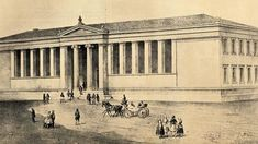 The Gennadi house in 1845 in Academy Street, where it was housed for a while the French Archaeological School and later various schools, such as the Ionian School and Economic High School, which was demolished in 1980 Old Greek, Athens, Louvre, Explore, Street, Building, Travel, Schools, High School
