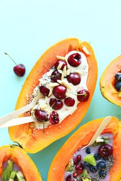 Tropical Papaya Boats for breakfast!