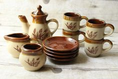 Vintage Miniature Tea Set for Four brown pottery