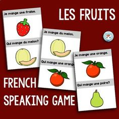 """French speaking game to practice sentences using fruit vocabulary: this game plays just like J'ai. Qui a., but with sentences including the verb """"Je mange."""" and fruit vocabulary. French Teacher, Teaching French, How To Speak French, Learn French, Speaking Games, Core French, French Phrases, French Immersion, French Bulldog Puppies"""
