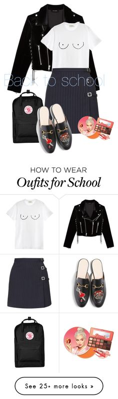"""Back to school "" by sherasnow on Polyvore featuring The Kooples, Diesel, Topshop, Fjällräven and Gucci"